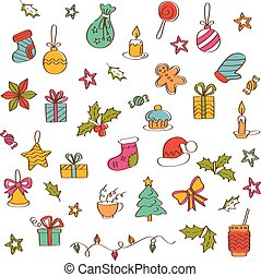 Christmas background with hand drawn icons