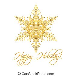 Christmas background with hand-drawn realistic snowflake Isolated on white, golden color.