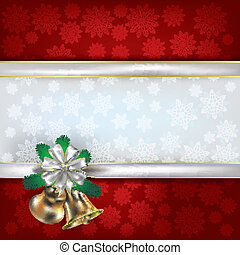 Christmas background with handbells and gift ribbons