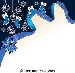 Christmas background with handing Santa socks