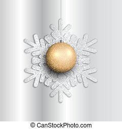 Christmas background with hanging bauble on glittery snowflake