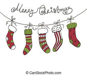 Christmas socks - Christmas background with hanging ...