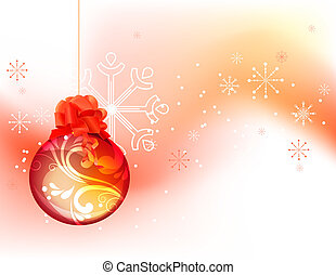 Christmas background with hanging red ball