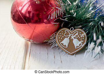 Christmas background with heart on christmas tree. -...