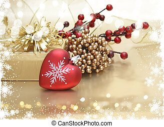 Christmas background with heart shaped decoration