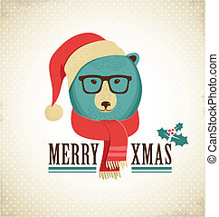 Christmas background with hipster bear - Christmas...