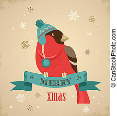 Christmas background with hipster bullfinch