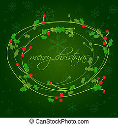 Christmas background with holly berry leaves on dark green background