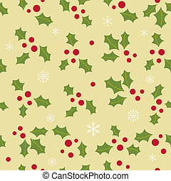 Christmas background with holly berry leaves on dark green...