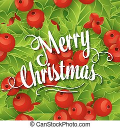 Christmas background with holly branches