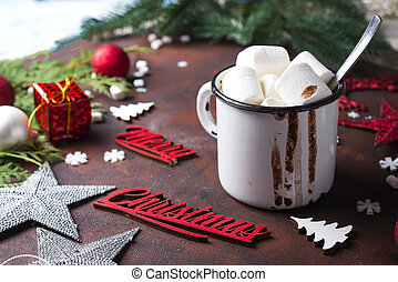 Christmas background with homemade hot chocolate,
