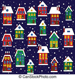 Christmas background with houses