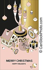 Christmas background with isometric cute toys. Candelabrum and gingerbread house