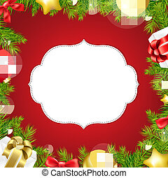 Christmas Background With Label And Ribbon