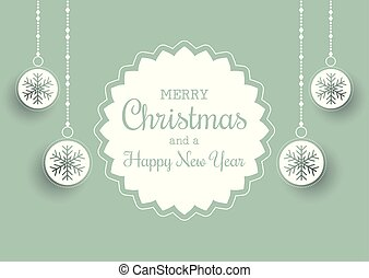 Christmas background with label and hanging baubles
