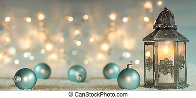 Christmas background with lantern and balls. Panoramic image