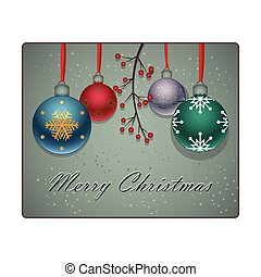 Christmas background with lovely colorful baubles and branch