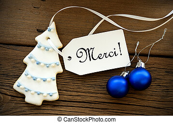 Christmas Background with Merci Label