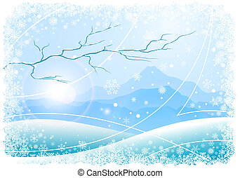 Christmas background with mountains and tree