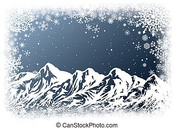 Christmas background with mountains