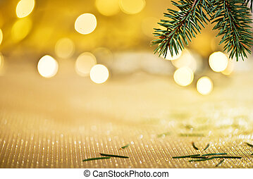 Christmas background with needles and color llights