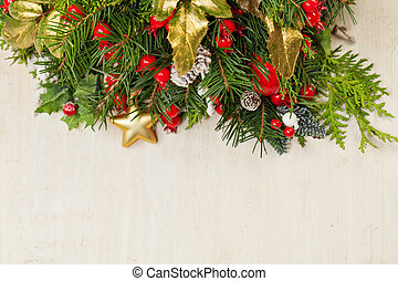 Christmas background with New Year decoration on white wooden board