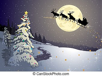 Christmas Background with Night Winter Landscape