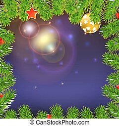 Christmas background with of glowing rays, fir branches, red berries, New Year balls and star