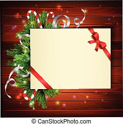 Christmas background with paper ribbon and lights on a wood ...