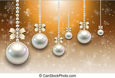 Christmas background with pearls