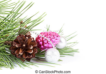 Christmas background with pink decoration