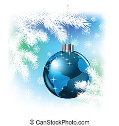 Christmas background with planet