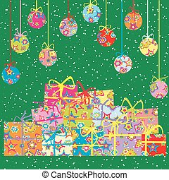 Christmas background with present boxes and balls