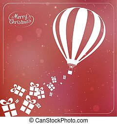 Christmas background with present boxes, ribbons and hot air balloon spilling gifts
