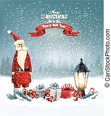 Christmas background with presents and Santa Claus. Vector illustration