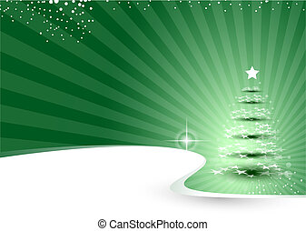 christmas background with rays and tree