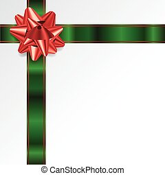 Christmas Background with Red and Green Bow and Ribbon