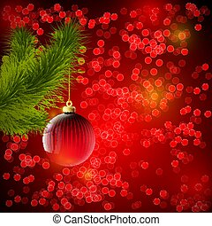 Christmas background with red ball and Christmas tree