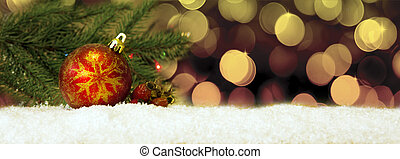 Christmas background with red ball.