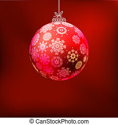 Christmas background with red ball. EPS 8