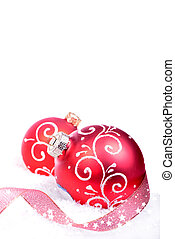 Christmas background with red balls isolated on the white background