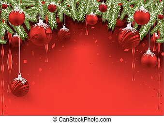 Christmas Background with Red Baubles