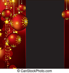 Christmas background with red baubles and golden stars
