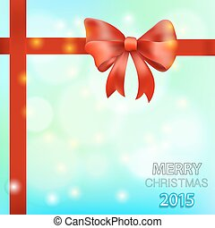Christmas background with red bow. Vector illustration