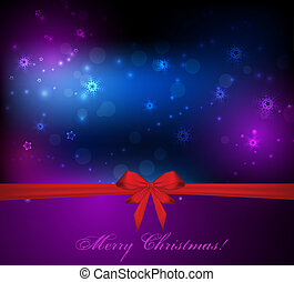 Christmas background with red bow ribbon