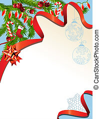Christmas background with red garland and ribbon