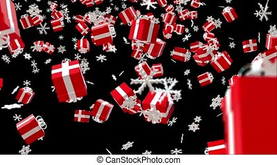 Christmas background with red gift boxes and white snowflakes on black