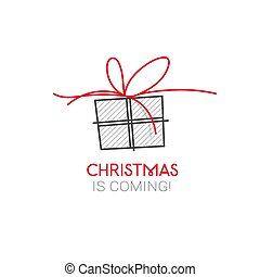 Christmas background with red gift