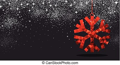 Christmas background with red snowflake.