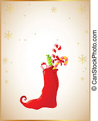 Christmas background with red sock and gifts